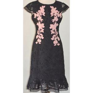 REVIEW BLACK & PINK FLORAL LACE COCKTAIL DRESS 10